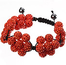 Popular Orange Round Polymer Clay Rhinestone Five Combination Flowers And Braided Black Drawstring Bracelet