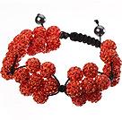 Popular Orange Round Polymer Clay Rhinestone Five Combination Flowers And Braided Black Drawstring Bracelet