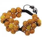 Popular Yellow Series Round Polymer Clay Rhinestone Five Combination Flowers And Braided Black Drawstring Bracelet