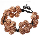 Popular Champagne Round Polymer Clay Rhinestone Five Combination Flowers And Braided Black Drawstring Bracelet