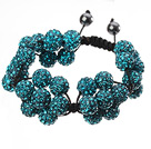 Popular Blue Round Polymer Clay Rhinestone Five Combination Flowers And Braided Black Drawstring Bracelet
