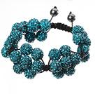 Popular Blue Round Polymer Clay Rhinestone Five Combination Flowers And Braided Black Drawstring Bracelet
