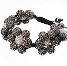 Popular Blackish Grey Round Polymer Clay Rhinestone Five Combination Flowers And Braided Black Drawstring Bracelet