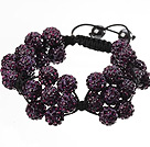 Popular Purple Round Polymer Clay Rhinestone Five Combination Flowers And Braided Black Drawstring Bracelet