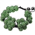 Popular Green Round Polymer Clay Rhinestone Five Combination Flowers And Braided Black Drawstring Bracelet
