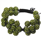 Popular Yellow Olive Round Polymer Clay Rhinestone Five Combination Flowers And Braided Black Drawstring Bracelet