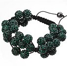 Popular Dark Green Round Polymer Clay Rhinestone Five Combination Flowers And Braided Black Drawstring Bracelet