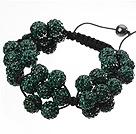 Popular Dark Green Round Polymer Clay Rhinestone Five Combination Flowers And Braided Black Drawstring Bracelet