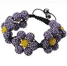 Popular Purple Yellow Round Polymer Clay Rhinestone Five Combination Flowers And Braided Black Drawstring Bracelet