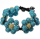 Popular Blue Yellow Round Polymer Clay Rhinestone Five Combination Flowers And Braided Black Drawstring Bracelet