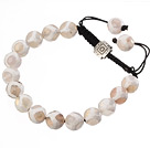 Fashion 10mm White Hand-painted Round Agate And Braided Black Drawstring Bracelet