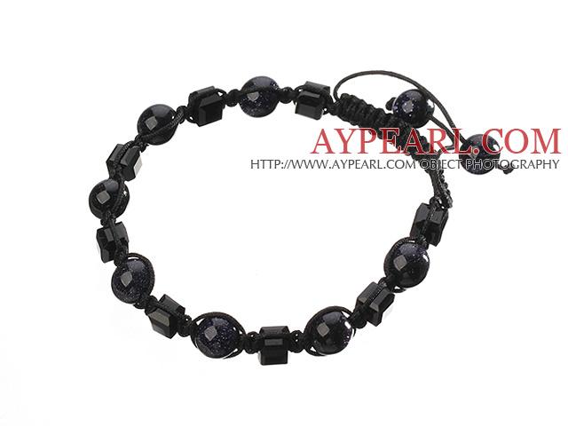 Lovely Round Blue Sandstone And Square Manmade Crystal Black Drawstring Bracelet
