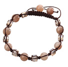 Lovely Round Sunstone And Square Crystal Braided Brown Drawstring Bracelet