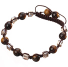 Wholesale Lovely Round Tiger Eye And Square Crystal Braided Brown Drawstring Bracelet