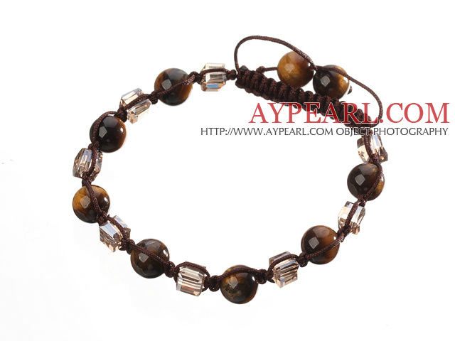 Lovely Round Tiger Eye And Square Crystal Braided Brown Drawstring Bracelet