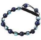 Lovely Round Lapis And Blue Square Crystal Braided Black Drawstring Bracelet
