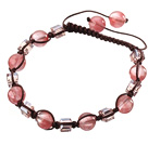 Wholesale Lovely Round Cherry Quartz And Square Crystal Brown Drawstring Bracelet