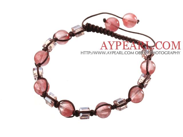 Lovely Round Cherry Quartz And Square Crystal Brown Drawstring Bracelet