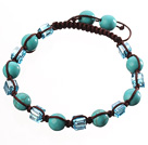 Lovely Round Blue Series Turquoise And Square Crystal Braided Brown Drawstring Bracelet