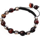 Lovely Round Faceted Colorful Agate And Square Crystal Braided Black Drawstring Bracelet