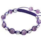 Wholesale Lovely Round Amethyst And Square White Crystal Braided Purple Drawstring Bracelet