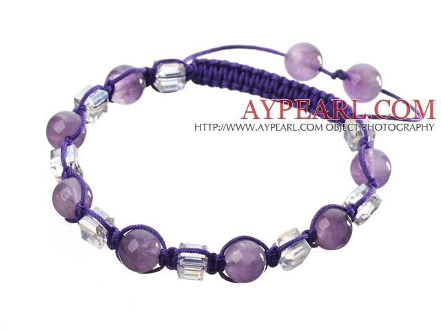 Lovely Round Amethyst And Square White Crystal Braided Purple Drawstring Bracelet