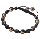 Wholesale Lovely Round Smoky Quartz And Square Black Crystal Braided Black Drawstring Bracelet