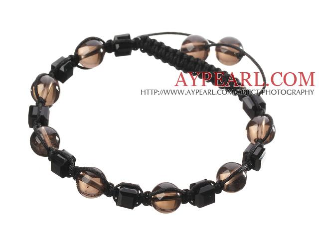 Lovely Round Smoky Quartz And Square Black Crystal Braided Black Drawstring Bracelet