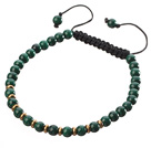 Fashion 4mm Round Malachite And Golden Spacers Braided Black Drawstring Bracelet
