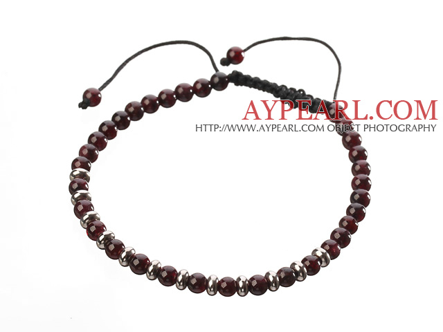 Fashion 4mm Round Natural Garnet And Silver Spacers Braided Black Drawstring Bracelet