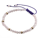 Fashion 4mm Round White Jade And Golden Spacers Braided Purple Drawstring Bracelet