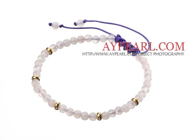 Fashion 4mm Round White Jade And Golden Spacers Braided Purple Drawstring Bracelet
