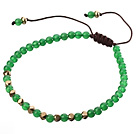 Fashion 4mm Round Green Jade And Golden Spacers Braided Brown Drawstring Bracelet