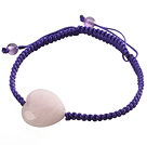 Wholesale Popular Peach Heart Rose Quartz And Round Amethyst Braided Purple Drawstring Bracelet
