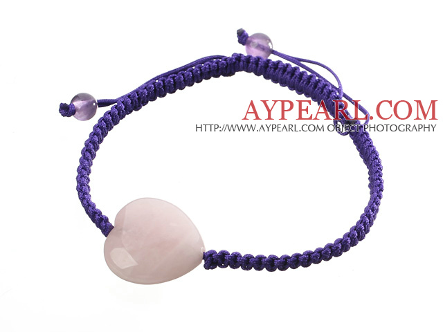 Popular Peach Heart Rose Quartz And Round Amethyst Braided Purple Drawstring Bracelet