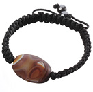 Wholesale Popular Grind Arenaceous Agate And Braided Black Drawstring Bracelet