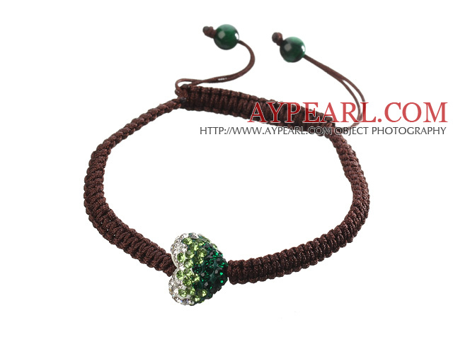 Popular Heart Polymer Clay Rhinestone And Round Green Agate Braided Brown Drawstring Bracelet