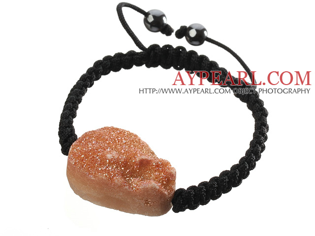 Popular Yellow Crystallized Agate And Hand-knotted Black Drawstring Bracelet