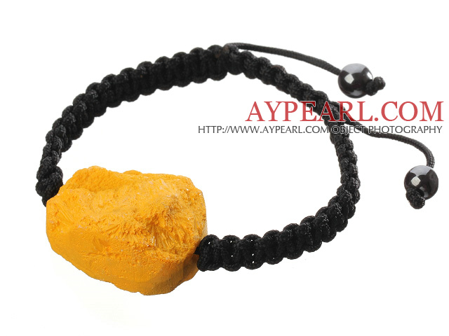 Popular Yellow Sandblast Agate And Hand-knotted Black Drawstring Bracelet