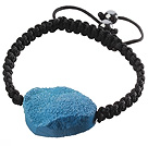 Popular Blue Sandblast Agate And Hand-knotted Black Drawstring Bracelet