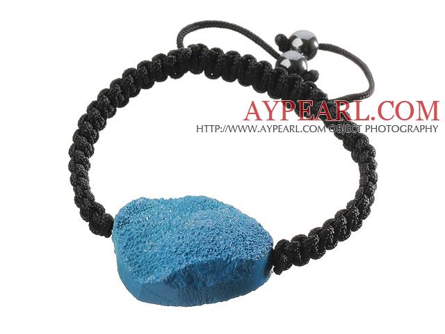 Popular Blue Sandblast Agate And Hand-knotted Black Drawstring Bracelet