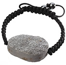 Popular Gray Sandblast Agate And Hand-knotted Black Drawstring Bracelet