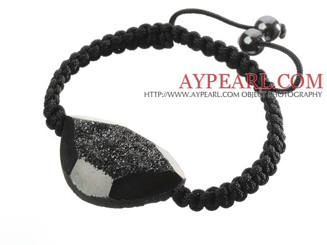Popular Black Sandblast Agate And Hand-knotted Black Drawstring Bracelet