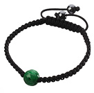 Wholesale Popular Carved Green Jade And Hand-knotted Black Drawstring Bracelet