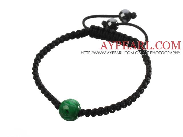 Popular Carved Green Jade And Hand-knotted Black Drawstring Bracelet