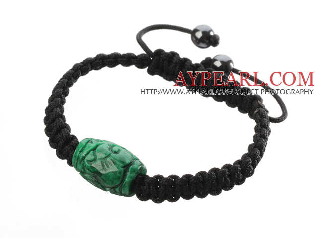 Popular Carved Green Jade And Hand-knotted Black Drawstring Bracelet