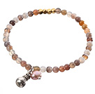 Nice Round Persian Agate And Copper Spacer Purse Charm Beaded Elastic Bracelet