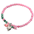 Nice Round Pink Green Jade And Heart Charm Beaded Elastic Bracelet