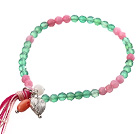 Nice Round Multi Color Jade And Heart Charm Beaded Elastic Tassel Bracelet