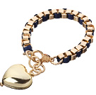 Fashion Simple Style Golden Link Bracelet With Lobster Clasp And Heart Charm